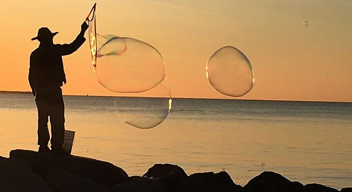 bubbles float over ocean